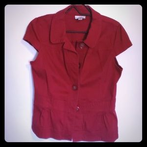 Ann Taylor Loft Red Short Sleeve Light Jacket